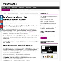 Confidence and assertive communication at work - Wilde Words