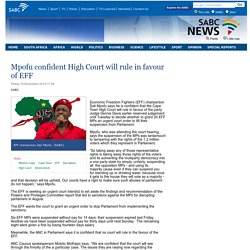 Mpofu confident High Court will rule in favour of EFF :Friday 19 December 2014