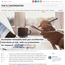 Australian metadata laws put confidential interviews at risk, with no protections for research