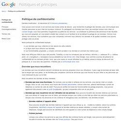 Politique de confidentialité – Politiques et principes – Google