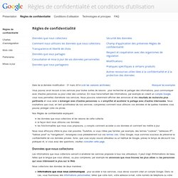 Règles de confidentialité – Règles et principes