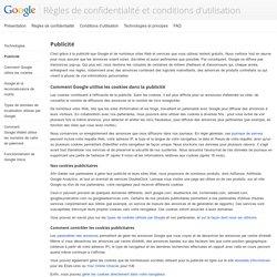 Publicité – Règles de confidentialité et conditions d'utilisation