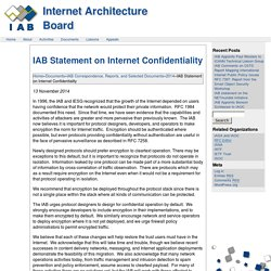 Statement on Internet Confidentiality