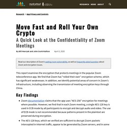 Move Fast & Roll Your Own Crypto: A Quick Look at the Confidentiality of Zoom Meetings