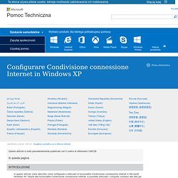 Configurare Condivisione connessione Internet in Windows XP