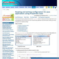 Reading and writing configuration for Java application using Properties class