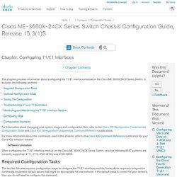 Configuring T1/E1 Interfaces