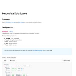 Configuration, methods and events of the Kendo DataSource component.