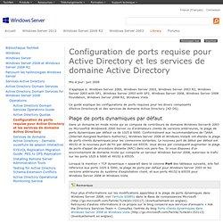 Configuration de ports requise pour ActiveDirectory et les services de domaine ActiveDirectory
