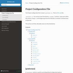 Project Configuration File — PlatformIO 0.11.0-dev documentation