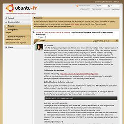 configuration Samba de Ubuntu 10.04 pour réseau domestique (Page 1) / Accès internet et réseaux