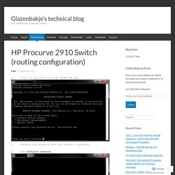 HP Procurve 2910 Switch (routing configuration)