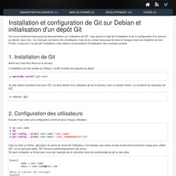 Installation et configuration de Git sur Debian et initialisation d'un dépôt Git