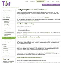 Tor Project: Hidden Service Configuration Instructions