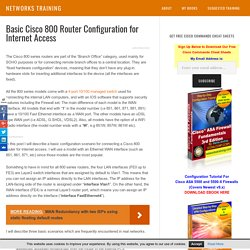 Basic Cisco 800 Router Configuration for Internet Access