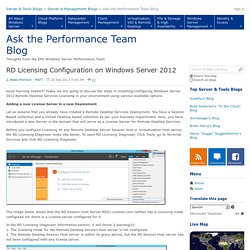 RD Licensing Configuration on Windows Server 2012 - Ask the Performance Team