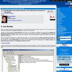 Configuration des profils itinérants, de la redirection de dossiers et des quotas