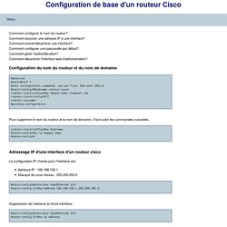 Configuration de base d'un routeur Cisco