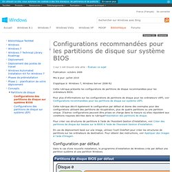 Configurations recommandées pour les partitions de disque sur système BIOS