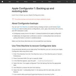 Configurator: Backing up and restoring data