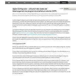 Configurator: utilisation des codes de téléchargement du programme d'achat en volume (VPP)