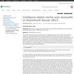 Configure object cache user accounts