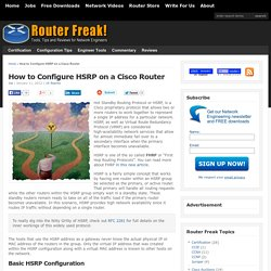 How to Configure HSRP on a Cisco Router - Router Freak