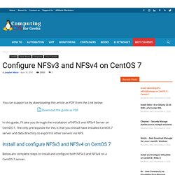 Configure NFSv3 and NFSv4 on CentOS 7