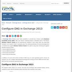 Configure DAG in Exchange 2013
