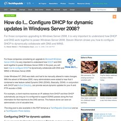 How do I... Configure DHCP for dynamic updates in Windows Server 2008?