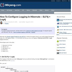 How to configure logging in Hibernate – SLF4j + Log4j