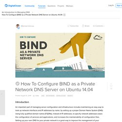 How To Configure BIND as a Private Network DNS Server on Ubuntu 14.04