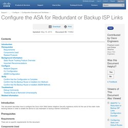 Configure the ASA for Redundant or Backup ISP Links