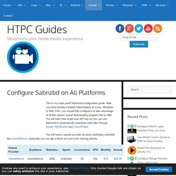 Configure Sabnzbd on All Platforms