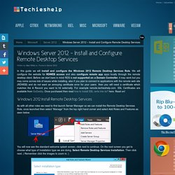 Install and Configure Remote Desktop Services On Server 2012 Guide - Techieshelp.com