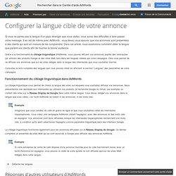Configurer la langue cible de votre annonce - Centre d'aide AdWords