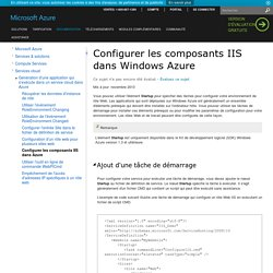 Configurer les composants IIS dans Windows Azure