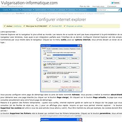Configurer internet explorer