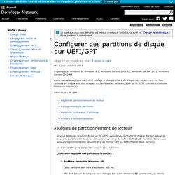 Configurer des partitions de disque dur UEFI/GPT