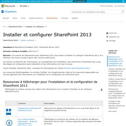Installer et configurer SharePoint 2013