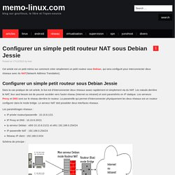 Configurer un simple petit routeur NAT sous Debian Jessie