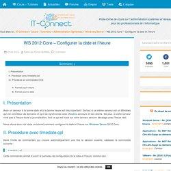 WS 2012 Core – Configurer la date et l'heure
