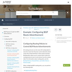 Example: Configuring BGP Route Advertisement - TechLibrary