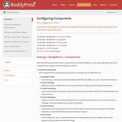 Configuring Components · BuddyPress Codex