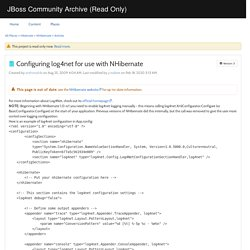 Configuring log4net for use with NHibernate - JBoss Community