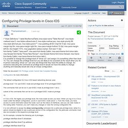 Configuring Privilege levels in Cisco IOS