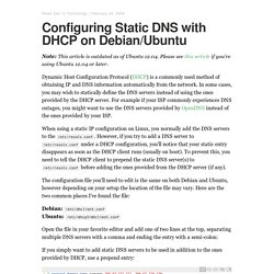 Configuring Static DNS with DHCP on Debian/Ubuntu – Raam Dev