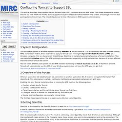 Configuring Tomcat to Support SSL - MircWiki