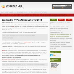 Configuring NTP on Windows Server 2012
