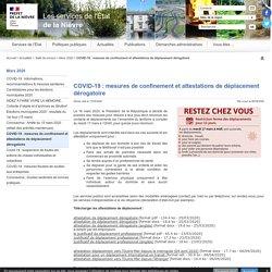 COVID-19 : mesures de confinement et attestations de déplacement dérogatoire - Les services de l'État dans la Nièvre